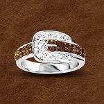 Kelly Herd Sterling Silver Buckle Ring with Svarowski Crystals