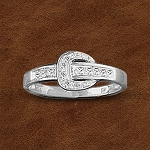 Kelly Herd Sterling Silver Contemporary Buckle Ring with Cubic Zirconia