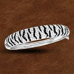 Kelly Herd Sterling Silver Zebra Cuff Bracelet with Swarovski Crystals