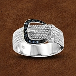 Kelly Herd Sterling Silver Rope Style Buckle Ring with Cubic Zirconia