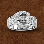 Kelly Herd Sterling Silver Pave Buckle Ring with Cubic Zirconia