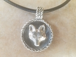 Tempi Designed Sterling Silver Fox Mask Medallion on a Leather Cord