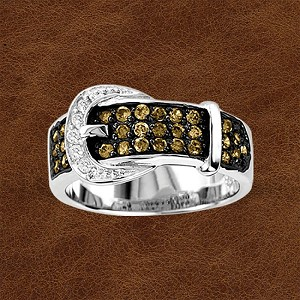 Kelly Herd Sterling Silver Buckle Ring with Cubic Zirconia