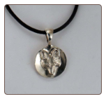 Tempi Designed Medium Size Sterling Silver Fox Mask Medallion on a Leather Cord
